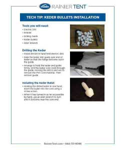 Rainier's guide to Keder bullet installation. This tent Keder guide is a downloadable PDF that is a must for understanding tent Keder repair