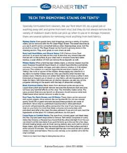 Photo Rainier's cleaning suggestions for tent liner stains, Mr Clean Erase, CLR, X-14 mildew remover, Silverware tarnish remover,Goof-Off,